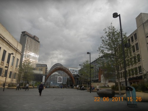Looking the other way across Tudor Square to the Winter Garden.