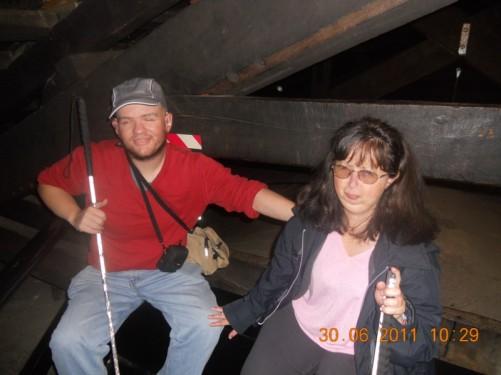 Tony and Tatiana inside the tower near the bells.