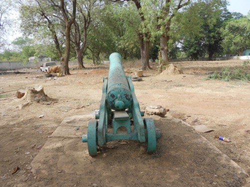 An old canon surrounded by parched grass, a few trees and a cow drinking from a trough. Janjanbureh, upper Gambia.