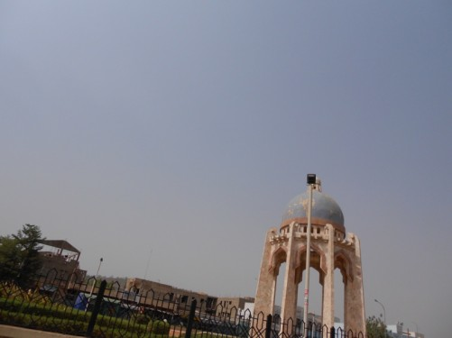 Monument for Palestinian Martyrs on Avenue Al Quds in Bamako. A domed roof supported by columns.