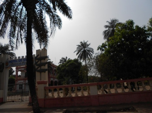 Outside the gates of Hotel de Ville in Bamako, north side of the Niger River.