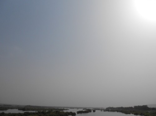 View of small islands in the Niger River from the King Fahd Bridge (Pont Du Roi Fahd).