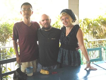 Tony with Kenji, a Japanese traveller, and Jeanne from Lyon, France.