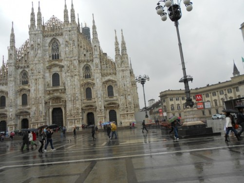 Duomo Square looking towards Milan's main cathedral (Duomo di Milano)