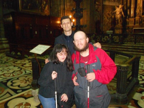 Tony and Tatiana with another staff member, the two gentlemen briefly helped them explore the cathedral.