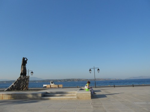 Harbour front promenade with a statue of Laskarina Bouboulina (1771 – 1825).