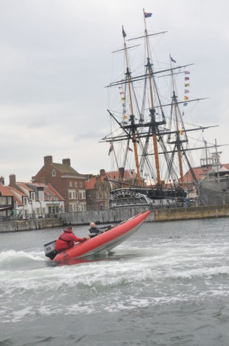 The Thundercat with its front raised into air with HMS Trincomalee again in the background.