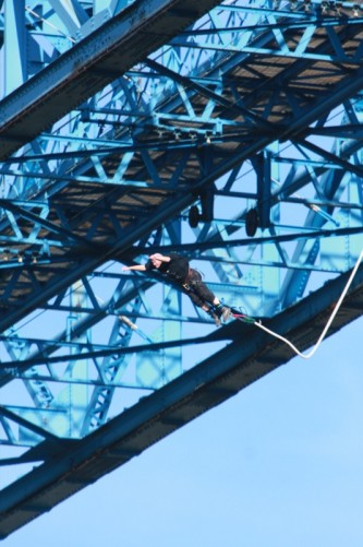 Tony bungee jumping off the Transporter Bridge in Middlesbrough. 7th October 2012.
