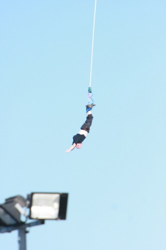 Tony bouncing on the stretched bungee cord.