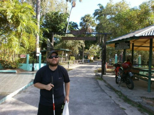 At the entrance to Guyana Zoo.