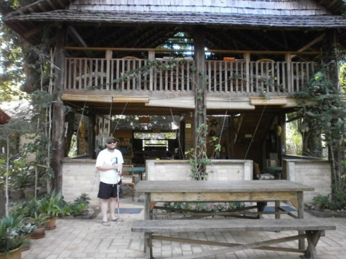 Tony outside the lodge's dining area where all meals are served – breakfast, lunch, dinner.