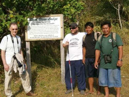 Tony with two Amerindian guides and the man visiting from Essex, England by the 'Uncle Dennis Trail