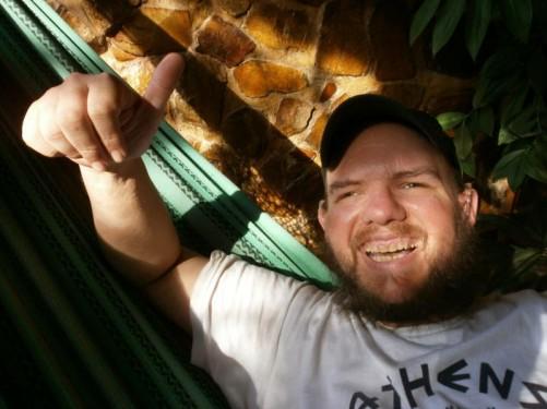 Close-up of Tony in the hammock.