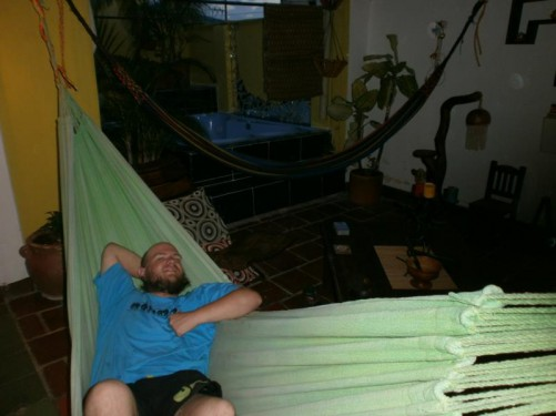 Tony relaxing in a hammock at Hostel Santander Aleman, downtown San Gil.