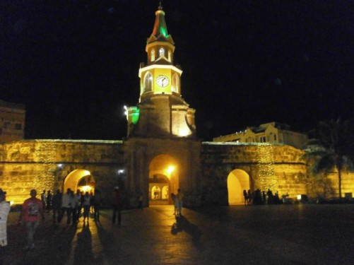Evening view of the Clock Tower (Torre del Reloj) at the main entrance into the old town.
