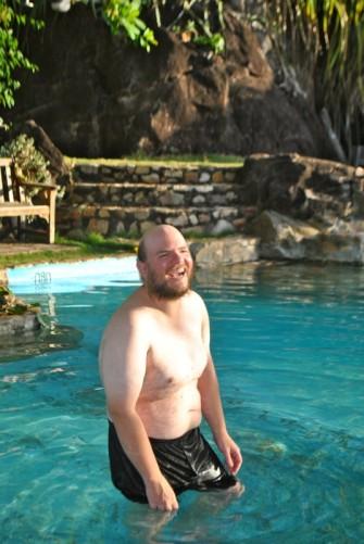 Tony in the Rock View rock pool.
