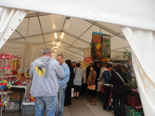 A temporary market in a marquee in the middle of Ban Jelacic Square. It is selling a range of goods including fruit, vegetables, nuts, plants and toys.
