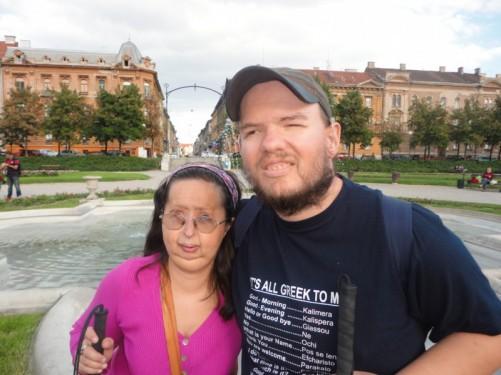 Tony and Tatiana by the fountain.