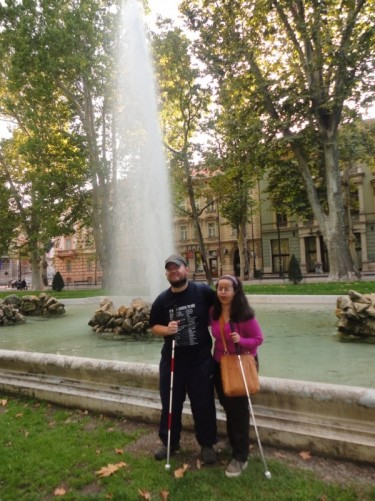 Tony and Tatiana by a fountain in leafy Zrinjevac park. This is part of a long horse-shoe shaped line of parks and squares south of the city centre.