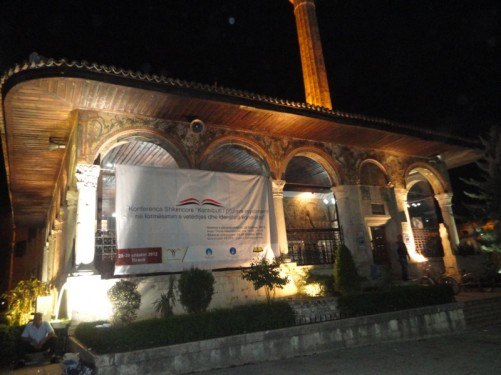 Ethem Bey Mosque, next to Skanderbeg Square. Construction was started in 1789 by Molla Bey and it was finished in 1823 by his son Haxhi Ethem Bey. Paintings can be seen on the outside walls: They include trees, waterfalls and bridges.
