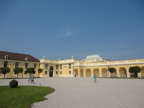 Large courtyard at the main entrance to the Schönbrunn Palace (Schloss Schönbrunn).