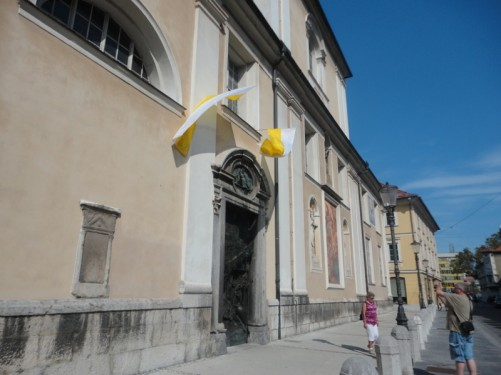Outside Saint Nicholas' Cathedral. The present cathedral was built at the beginning of the 18th century.