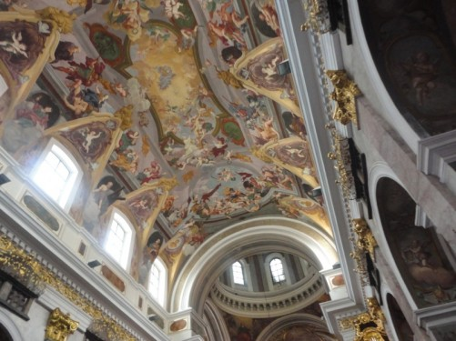 The cathedral's ceiling. It was painted by Giulio Quaglio in the early 18th century.