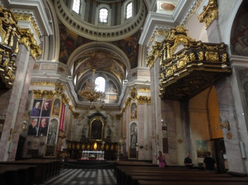 View along the central aisle to the main altar.