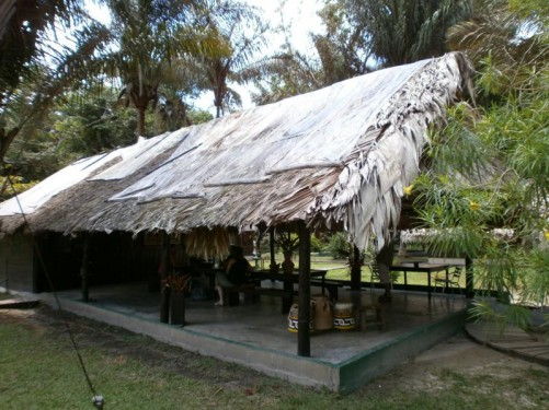A building in the Maroon village. It is an open-sided shelter built of wood with a roof thatched using Palm fronds.