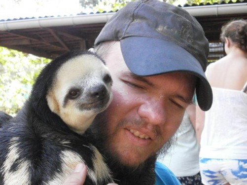 Close-up of Tony and the sloth. Very cute!