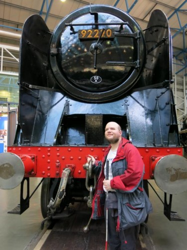In front of the Evening Star: the last steam locomotive to be built in the UK.