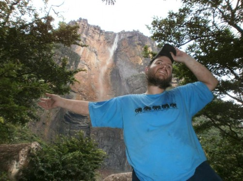 Tony at Angel Falls! The waterfall is towering behind him.