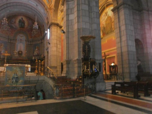 View to one side of the main altar inside Merida Cathedral.