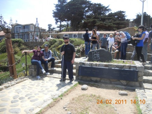 The grave of Pablo Neruda and his wife Matilde Urrutia located near the house.