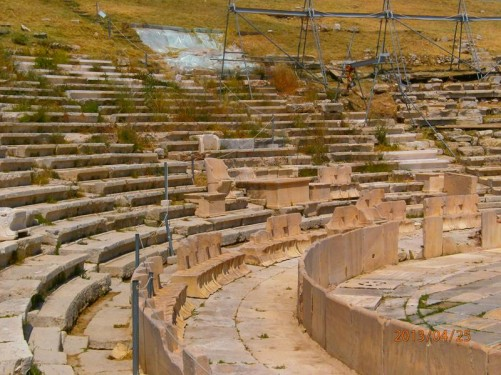 Rows of stones seats at the Theatre of Dionysus Eleuthereus.