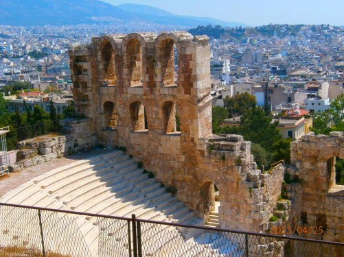 Odeon of Herodes Atticus: a stone theatre on the south-west slope of the Acropolis. It was built in 161 AD by Greek aristocrat Herodes Atticus in memory of his wife. The theatre was restored in 1950 and today it is regularly used for musical performances.