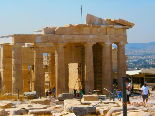 Another view of the Parthenon. It is 69.5 metres (228 feet) long and 30.9 metres (101 feet) wide. The Doric columns around the outside are 10.4 metres (34.1 feet) in height.