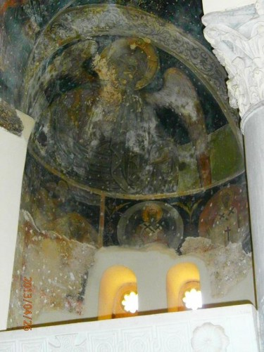 A painted alcove inside the church.