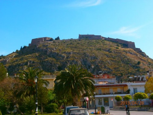 View of Palamidi Fortress from the town. The fortress was built by the Venetians between 1711 and 1714.