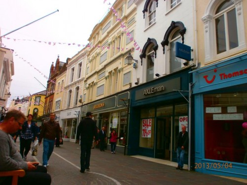 View along King Street. This pedestrian street is part of St Helier's main shopping area.