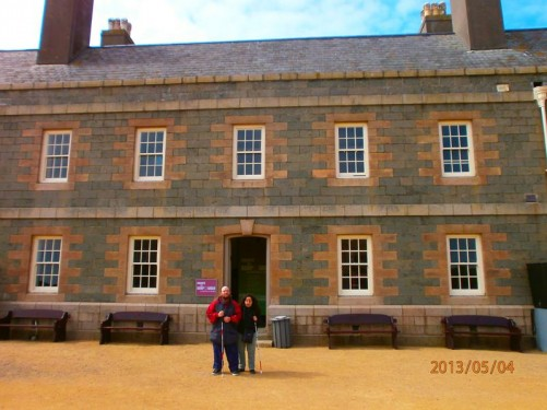 Tony and Tatiana outside the Officers' Quarters, now an exhibition space. Built in 1735.