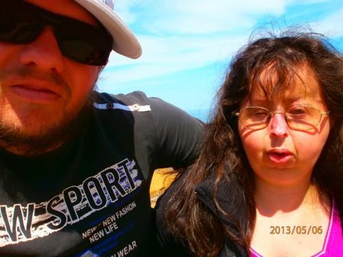 Close-up of Tony and Tatiana on the beach.