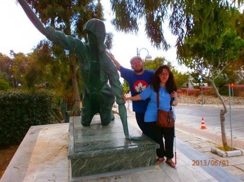 Again Tatiana and Tony by the female pilgrim statue.