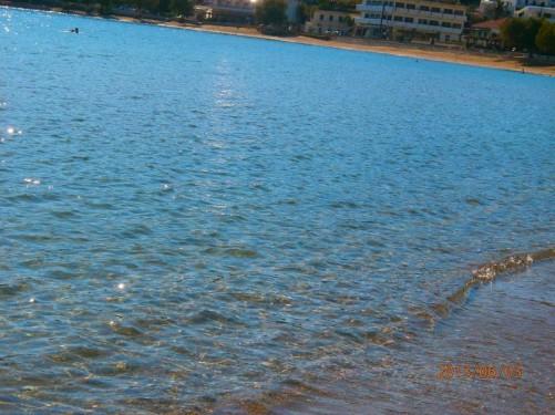 The sea shore at Batsi, a small coastal tourist village.