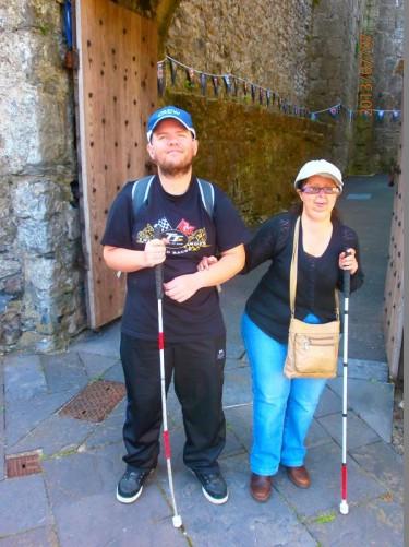 Tony and Tatiana at an entrance into the castle.