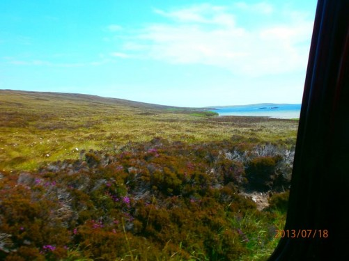 Another view from the coach: exposed moorland with the sea visible away to the right. Heather with purple flowers growing by the road.
