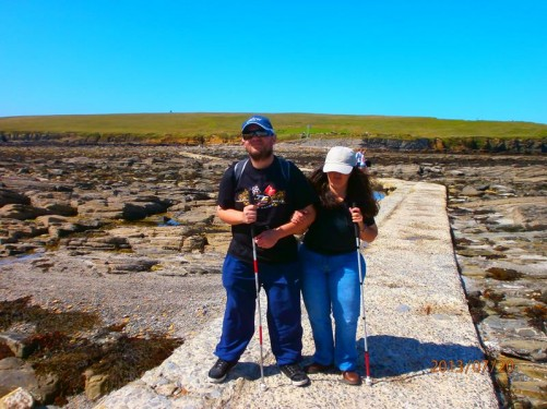 Tony and Tatiana on a causeway leading to the Brough of Birsay: a tidal island with ancient ruins, located off the north-west coast of mainland Orkney.