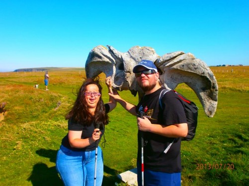Tony and Tatiana touching a whale bone. Again located east of the Brough of Birsay car park.