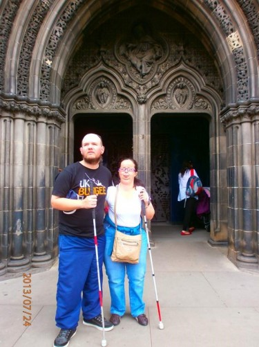 Tony and Tatiana outside the doorway to St Giles' Cathedral.