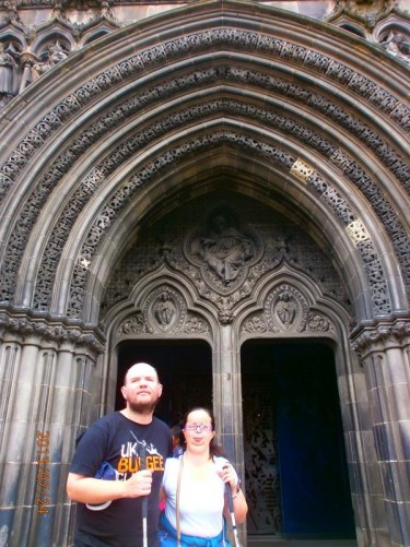 Again Tony and Tatiana outside the cathedral. Showing stone carving above the main doorway.